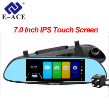 Wholesale prices E-ACE Car DVR Full HD 1080P 7.0 Inch IPS Touch Screen Recorder Dual Lens with Rear View Mirror Auto Registrator Dash Camera