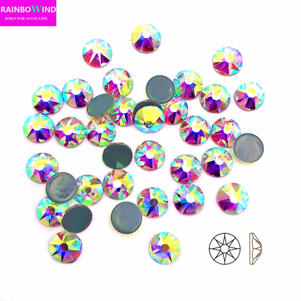 2088cut AAA New Facted (8 big +8 small) SS16 ss20 SS30 white AB Nail Art hotfix Rhinestones iron on clothes glitter