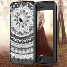 купить Clear Hard PC Thin Cute Case For iphone X 8 7 6 6s plus 5 5s SE Case Transparent Mandala Flower TPU Bumper Slim Cover дешево