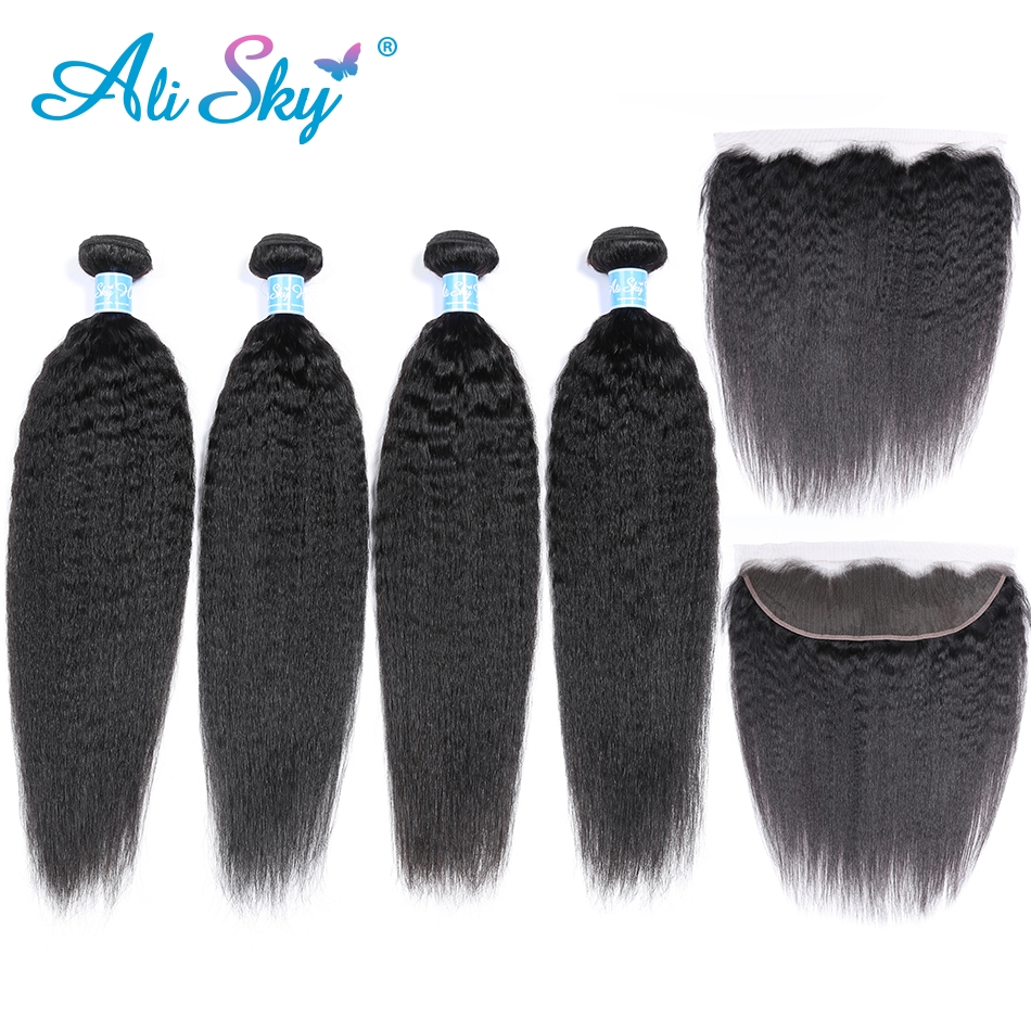 Alisky Kinky Straight 4 Bundles With lace Frontal Closure Peruvian Hair Bundles with 13x4 Ear To