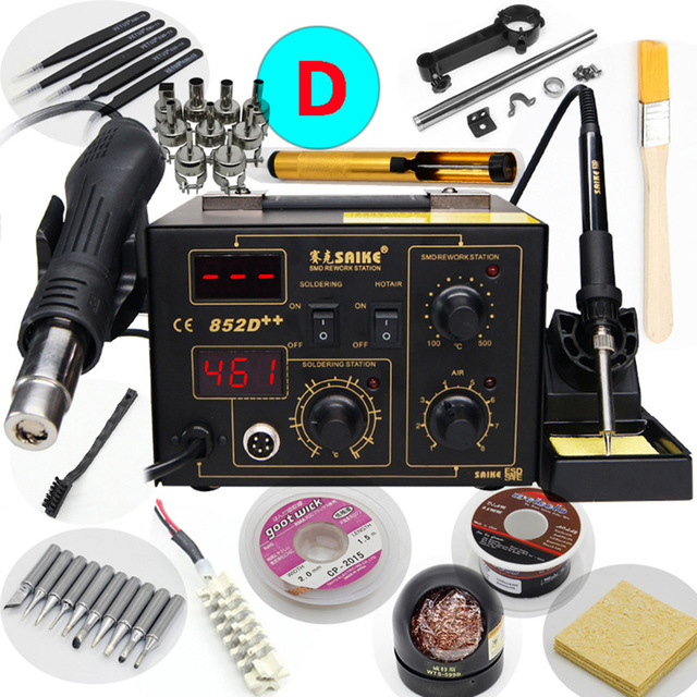 Saike 852D ++ upgrade hot air desoldering station hot air gun desoldering station electric iron two-in-one BGA rework stationSaike 852D ++ upgrade hot air desoldering station hot air gun desoldering station electric iron two-in-one BGA rework station
