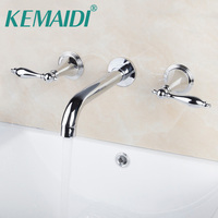 KEMAIDI Bathroom Faucet Bathtub Faucets Construction & Real Estate Wall Mounted Two Handles 3 Pcs Set Bath Fixtures Sets