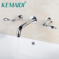 KEMAIDI Bathroom Faucet Bathtub Faucets Construction & Real Estate Wall Mounted Two Handles 3 Pcs Set Bath Fixtures Sets