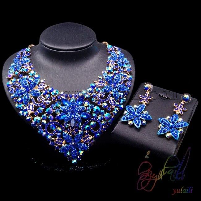 Livraison gratuite accessoires bleus ensembles de bijoux nouvel ensemble de bijoux en émail ensemble de bijoux en forme de fleur