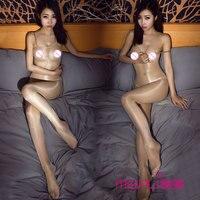 New Sexy Open Crotch High Waist Shiny Glossy Stockings Vest Body Stockings Transparent Body Pantyhose Tight