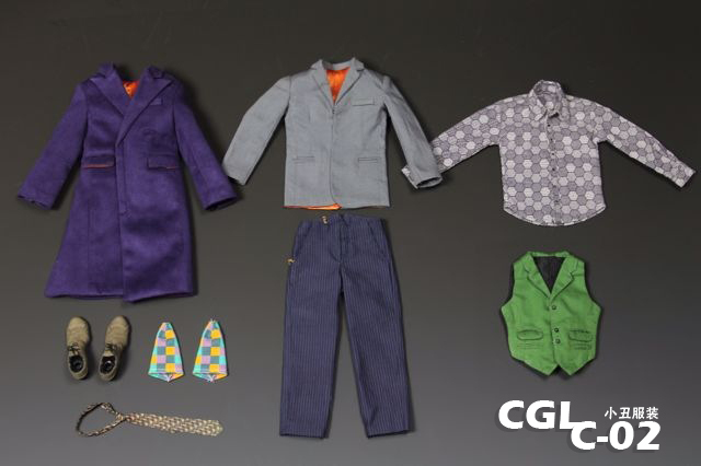 CGL C-02 1/6 Batman Joker Coat and suits suit for 12inch doll , Body, head sculpture and hand are not included 1 6 batman joker heath ledger mask headsculpt for 12inch doll parts body clothes and body are not included