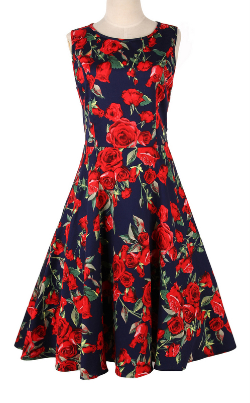 dress online retro inspired UK dress floral novelty clothing xxxl 50s rockabilly pinup sash femme robe