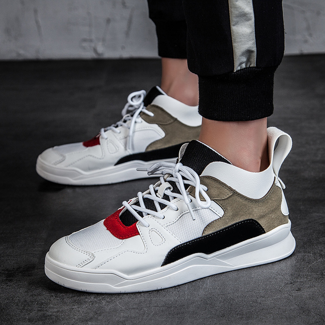 Summer Patchwork Men Shoes Pop Brand Sneakers White Kanye West Casual Shoes Hip Hop Leather Shoes Men