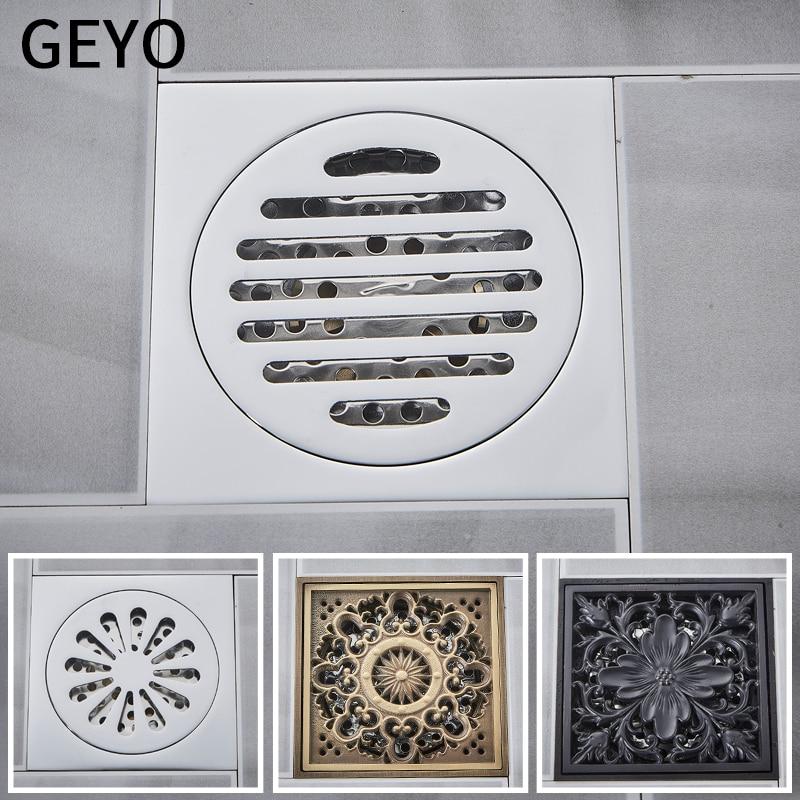 GEYO Euro Floor Drains Antique Brass Shower Floor Drain Bathroom Deodorant Euro Square Floor Drain Strainer Cover Grate Waste in Drains from Home Improvement