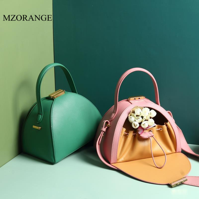 MZORANGE 2019 New Genuine Leather Women's Bag Handbags Solid Color Shell Bag Shoulder Bags Vintage Messenger Bags