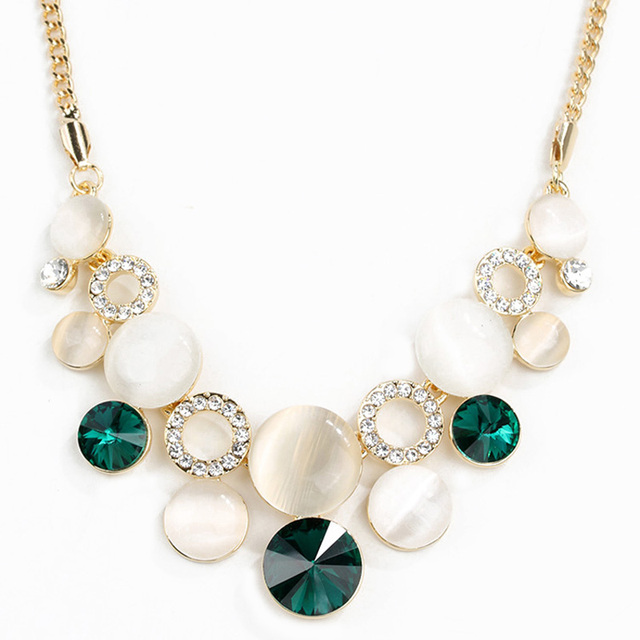 Maxi Necklace Collier European And American Clothing Crystal Necklace Clavicle Short Chain Sweater Opal Korean Jewelry Upscale