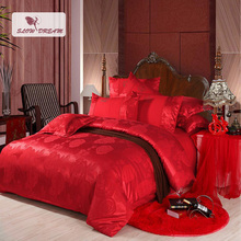 SlowDream Red Wedding bedding Set Luxury Silk Bed Linen Cotton Double Queen King Duvet Cover Bedspread Sheet