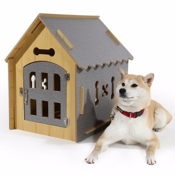 Domestic delivery Fashion Dog DIY House Crate Wooden Kennel Indoor Condo Pet Shelter for Small Medium Dogs and Cats 1