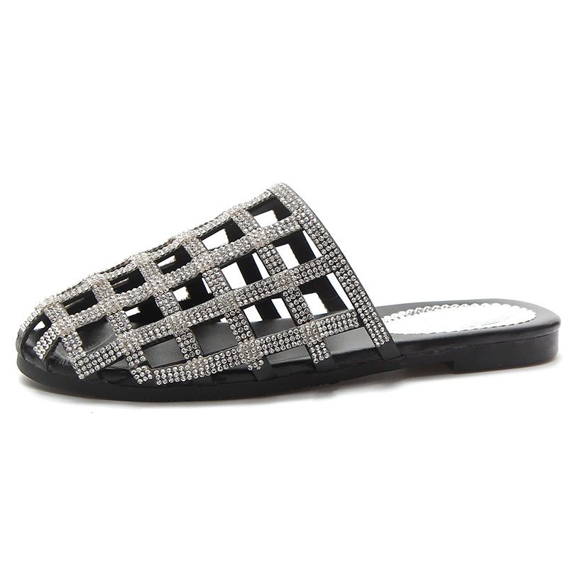 Blings Slides Women Designer Creepers Sandals Rhinestone Cozy Pointed Toe Slippers Flip Flops Slip on Drop Shipping