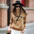 Veri Gude Women Top Letter Print Pullover Sweatshirt