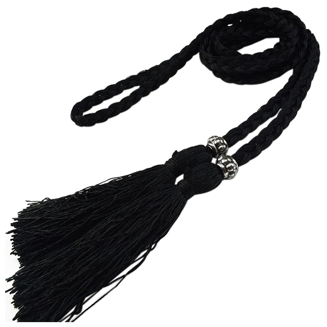 Woven Tassel Belt Knot Decorated Waist Chain Waist Rope Black