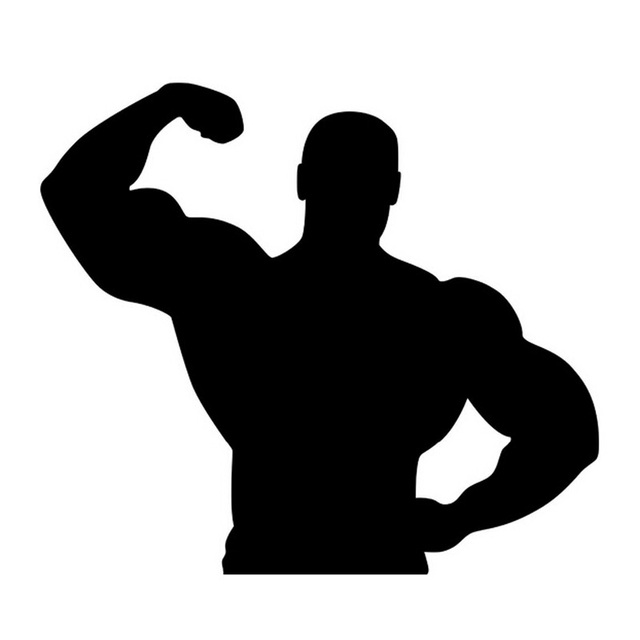 17*15CM MUSCLE MAN Cartoon Car Stickers And Decals Motorcycle Car ...