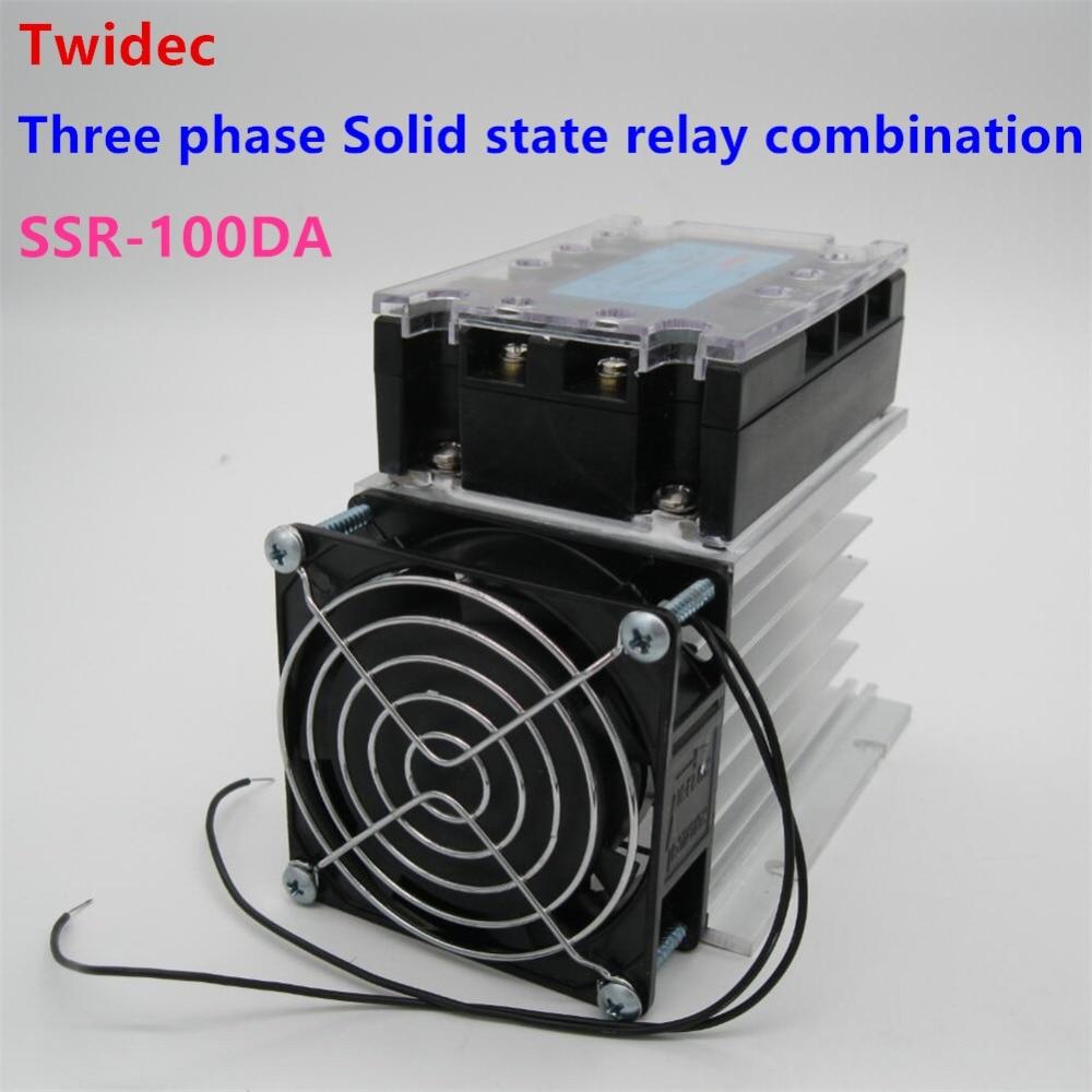 Di alta qualità Trifase Relè A Stato Solido SSR-100DA Relè 3-32VDC a 30-480 V AC SSR Relay + Dissipatore di Calore In Alluminio + ventilatore elettrico