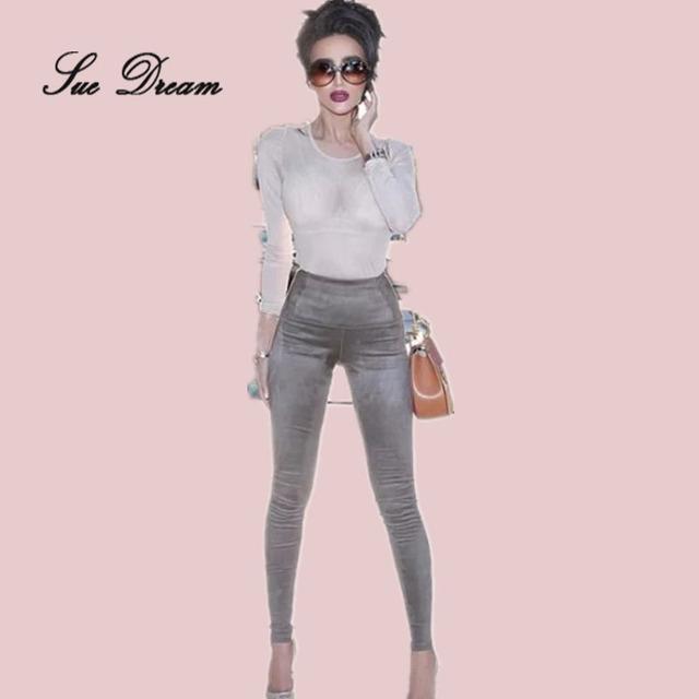 2016 Invierno nuevas Mujeres gris marrón verde lápiz pantalones nightclub lady Cashmere Gamuza Flaco Apretado Partido Celebrity Mamelucos