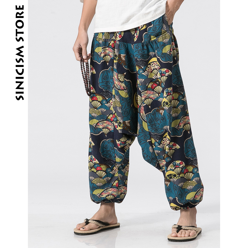 Sinicism Store Cotton Linen Harem Cross Pants Men Jogger Pants Male Summer Floral Print Hawaii Beach Pants Trousers 2018