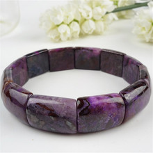 18*15*7mm Genuine Natural Purple Sugilite Gems Stone Rectangle Beads Fashion Jewelry Charm Stretch Women Bangle Bracelets