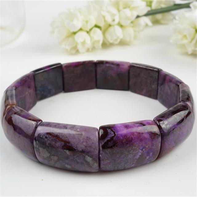 18*15*7mm Genuine Natural Roxo Sugilite Gems Pedra Retângulo Beads Moda Jóias Charme Mulheres Estiramento Bangle pulseiras