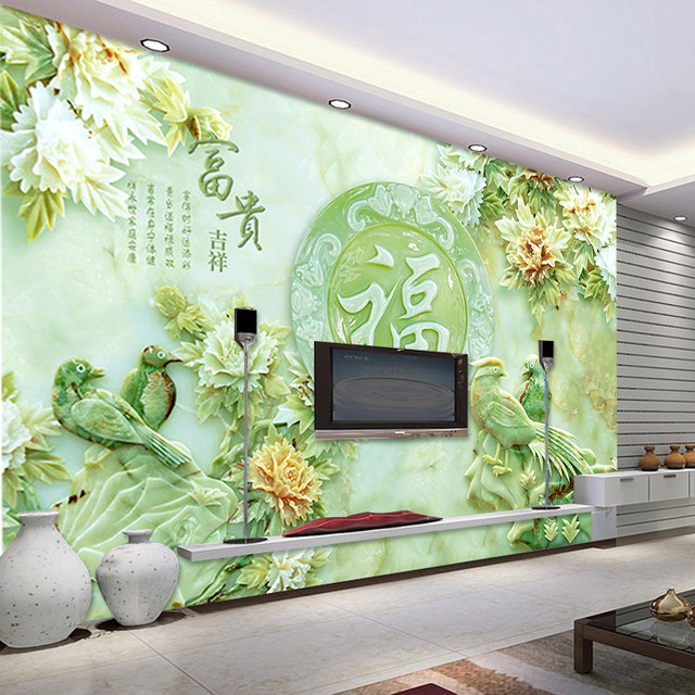 3d jade carving wallpaper unique design wall mural flower for Chinese mural wallpaper
