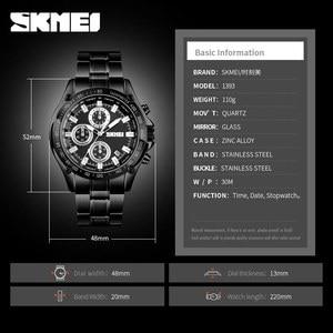 Image 5 - SKMEI קוורץ שעון גברים נירוסטה רצועה עמיד למים שעונים תאריך שעון איש אופנה מקרית ספורט צפה relogio masculino 1393