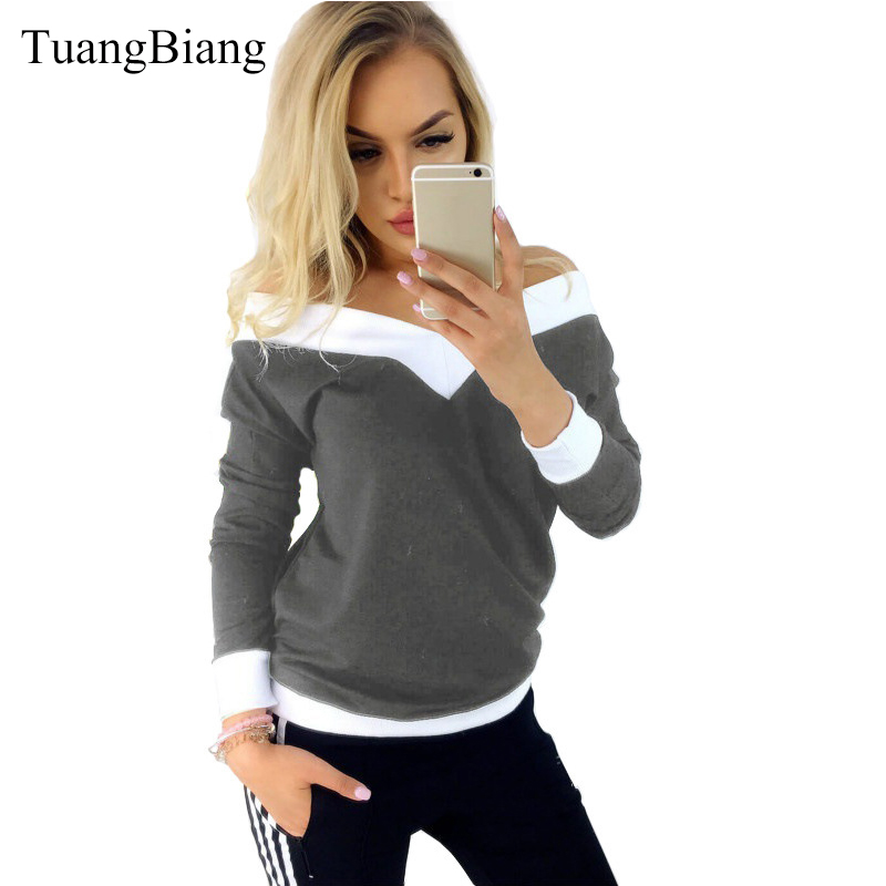 2019 Women Long Sleeve Spring Deep V-Neck T Shirts Patchwork Off Shoulder Cotton Tee Ladies T-shirt Panelled Summer Sexy Tshirts