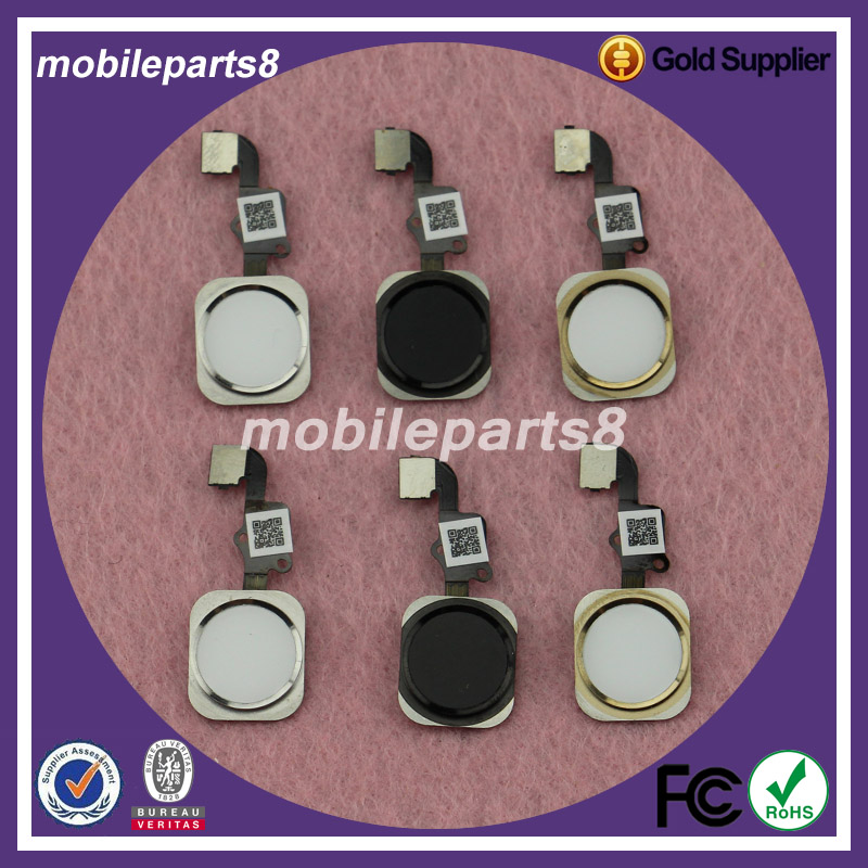20pcs/lot Free Shipping Home Button Flex Cable Assembly for iPhone 6 plus home button flex complete balck or white gold