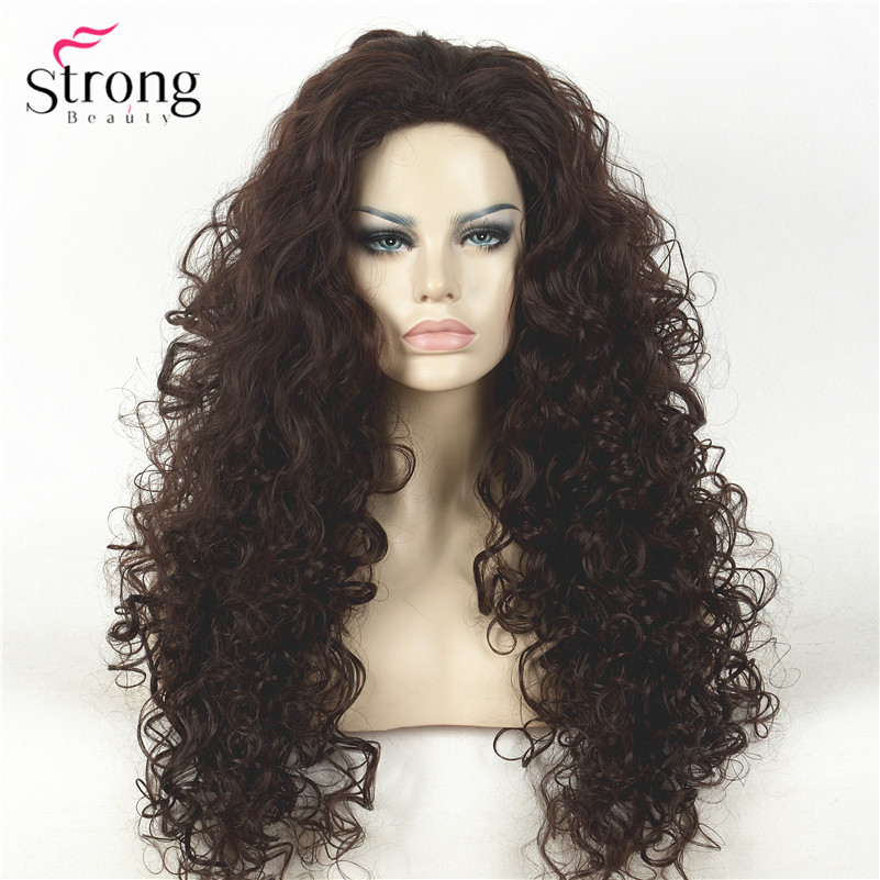 Long Dark Brown Curly Afro Full Synthetic Wig Women's Wigs