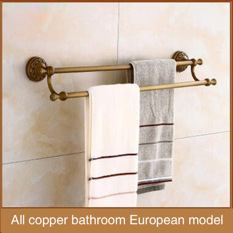 All copper antique towel rack, thickening bathroom hardware hanging, bathroom towel rod, double pole, double bar wholesale bathr european luxury all copper and bronze towel ring towel hanging antique blue and white towel ring towel rack hanging round