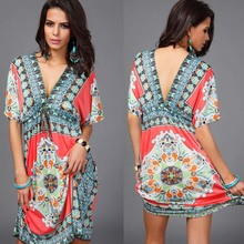 Sundresses Deep V Ethnic Dashiki Print Tunic Beach Dresses