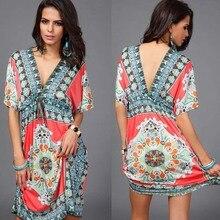 Boho Summer Women Dress Sexy Loose Sundresses Deep V Neck Dashiki Print Tunic Beach Dresses Big Size 2XL Woman SunDress Robe