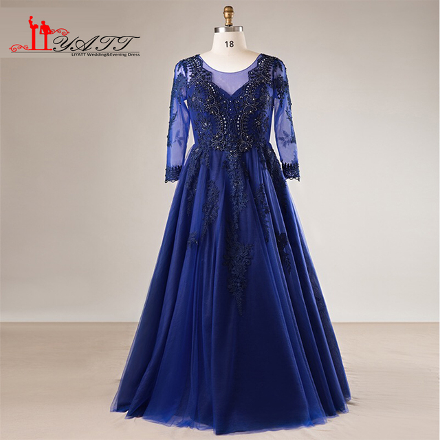 2018 New Spring Plus Size Long Sleeves Black Lace Royal Blue Tulle ...