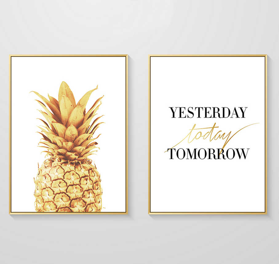 Yesterday Today Tomorrow Gold Pineapple Canvas Paintings Wall Art Poster Pop Pictures For Living Room Home Decor No Frame