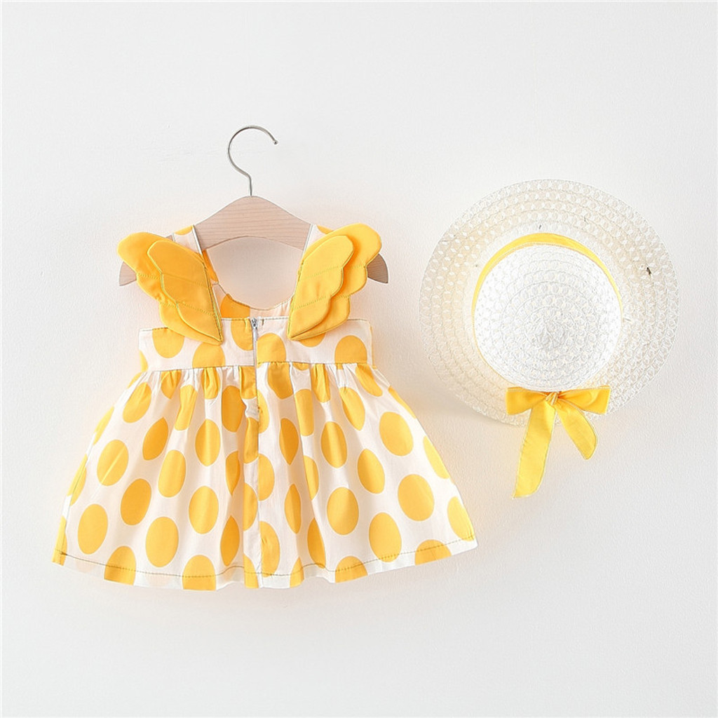 Newborn Infant Baby Girl Print Wing Casual Princess Party Sundress Hat Dress US