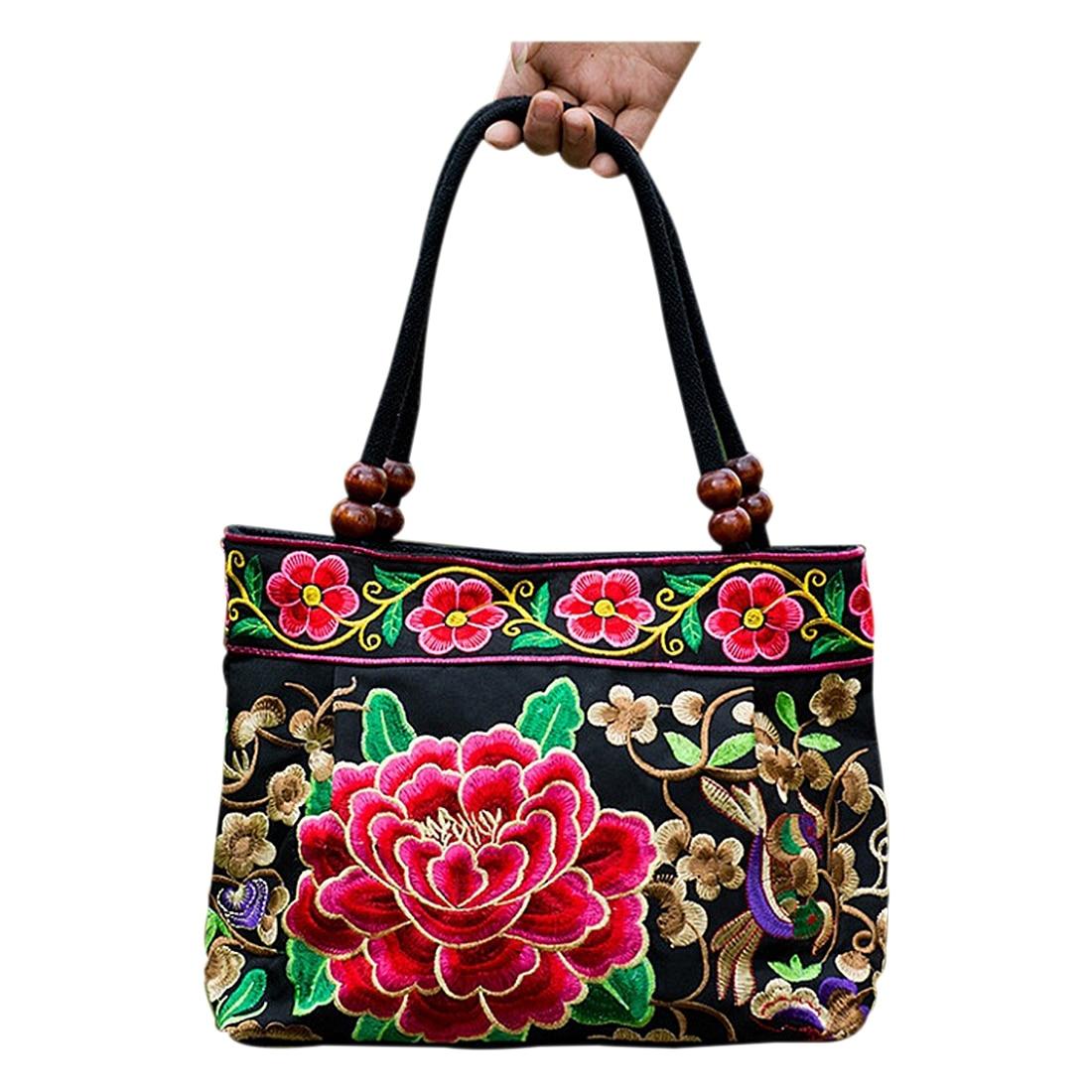 AFBC National Chinois style sacs Broderie Fleurs Sacs À Main Ethnique toile À La Main Fourre-Tout sacs à main de femmes Sac à Dos Femme