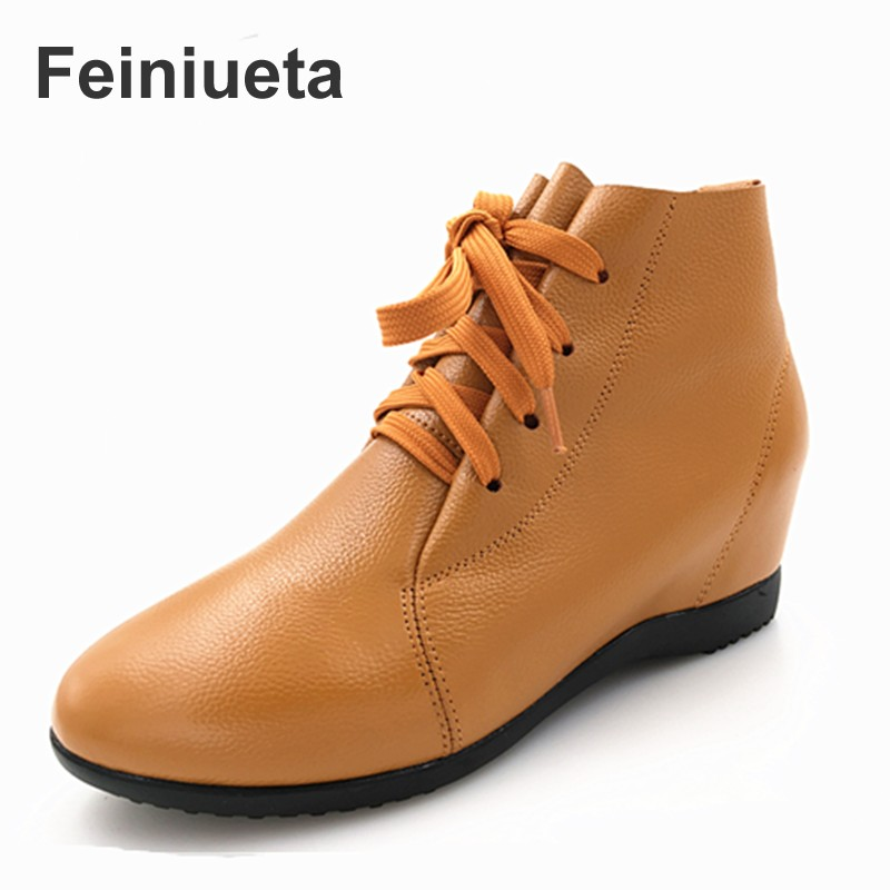 Feiniueta Casual Short Boots 2017 Spring Boots Leather Increased Flat-bottomed Lace One Boots Moms Shoes plus size 33-43