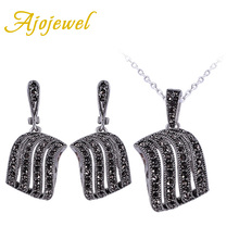 Ajojewel plateado plata antigua negro crystal rhinestone geometría joyería conjuntos collar pendientes pendientes de las mujeres de la vendimia 2016