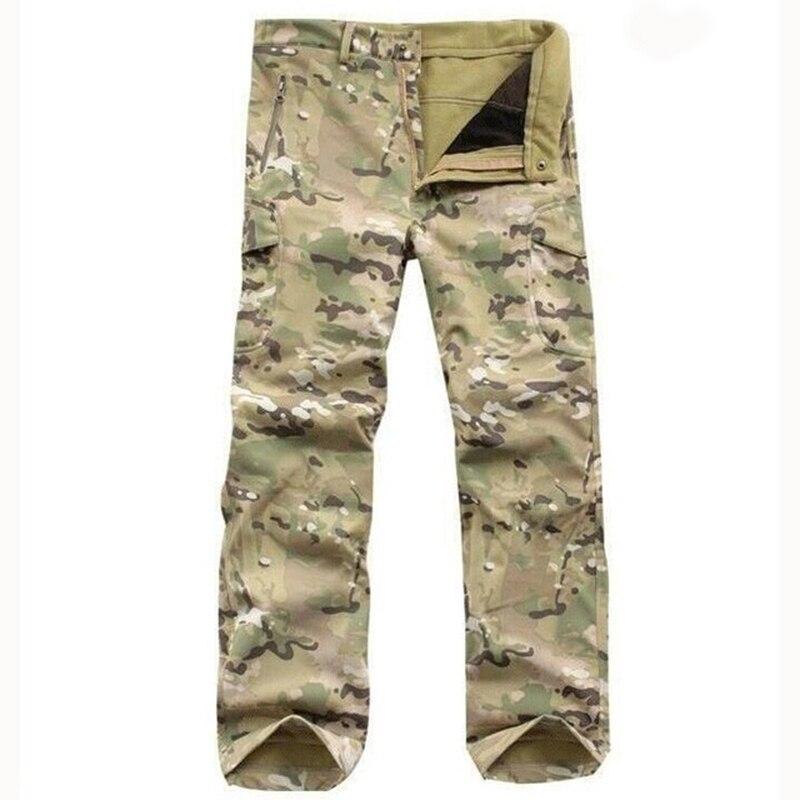 все цены на Gear Tactical Waterproof Soft Shell Pants Men Windproof Warm Camo Fleece Military Trousers Shark Skin Army Hunt Camouflage Pants