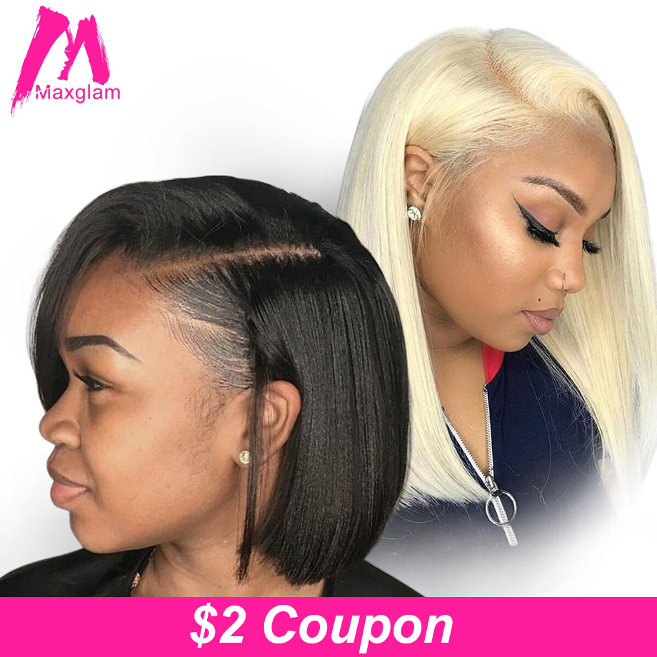 Maxglam Short Lace Front Human Hair Wigs Blonde 613 Human Hair Lace Frontal Wig Brazilian Hair