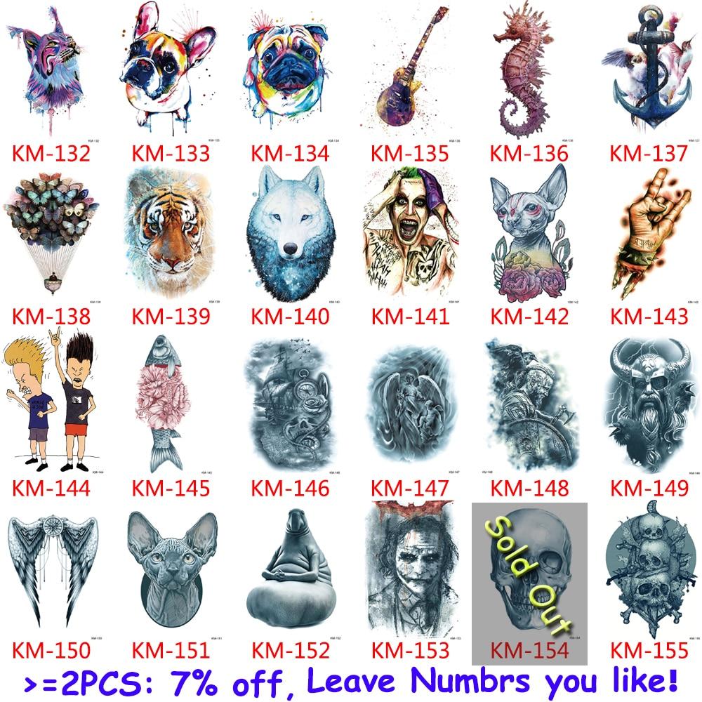 167 Design 1pc Tattoo Sticker Moth Jellyfish Indian Wolf Design Women Men Flower Arm Leg Chest Body Art Temporary Tattoo Fashion