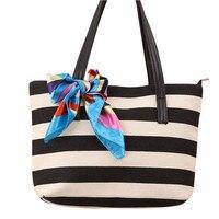 2016 Famous Designer High Quality Brand Bags Women Fashion Canvas Stripe Silk Scarf Bags Shoulder Bag