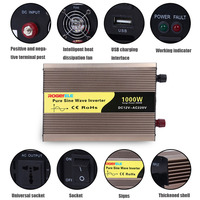 3000w Car Power Inverter DC12V TO AC 220V USB Charge Portable Pure Sine Wave Power Car Converter Voltage Transformer