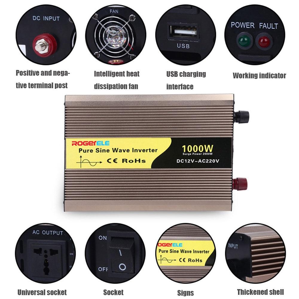 3000w Car Power Inverter DC12V TO AC 220V USB Charge Portable Pure Sine Wave Power Car Converter Voltage Transformer