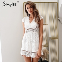 Simplee Elegant V Neck Lace Rompers Womens Jumpsuit Ruffle Hollow Out Sexy Playsuit 2018 Summer Boho