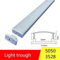 2-30 sets/paquete 0,5 m 12 mm con perfiles de aluminio para 5050 5630 tira de LED aleación de aluminio carcasa plana + cubierta de PC