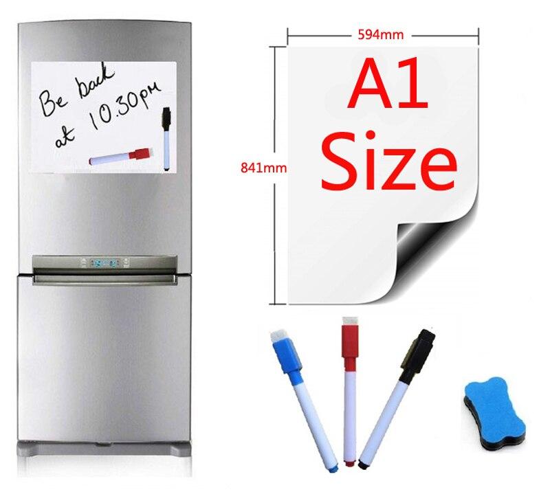 Tableau blanc magnétique A1 taille 594x841mm aimants de réfrigérateur tableaux de présentation accueil cuisine panneaux d'affichage écriture autocollant 3pen1gomme