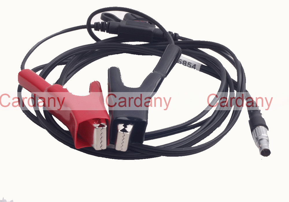ФОТО 565854 1.8M Cable With Heavy Duty alligator Clips wired to Female SAE 2-pin Connector For Leica 5-pin